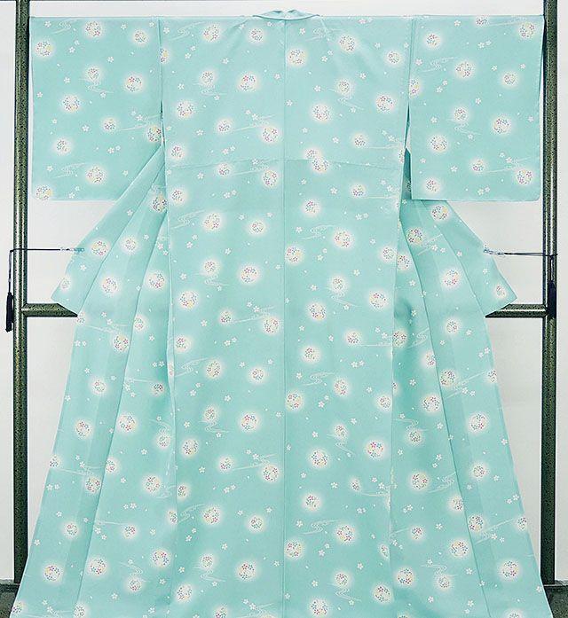 単衣 小紋 新品仕立済 正絹 単衣 流水花丸模様 小紋 新品 仕立て上がり 着物