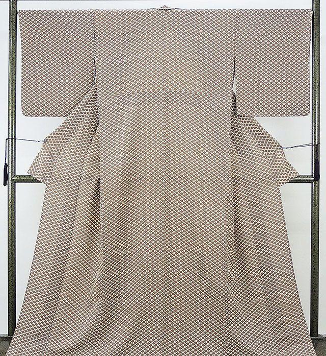 単衣 小紋 新品仕立済 正絹 単衣 菱模様 小紋 新品 仕立て上がり 着物