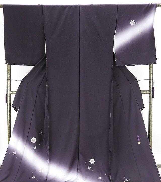 訪問着 新品仕立付き 正絹 じゅらく帝王紫 刺繍結晶模様 訪問着 新品 未仕立 フルオーダー 誂え仕立て 着物