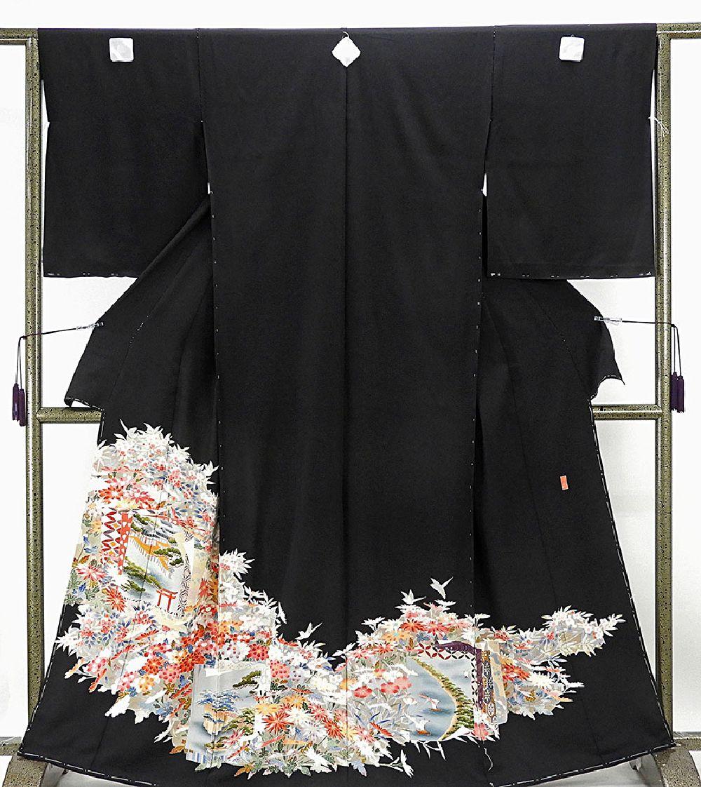 留袖 新品仕立付き 正絹 加賀友禅 水野博寿作 黒留袖 新品 未仕立 フルオーダー 誂え仕立て 着物