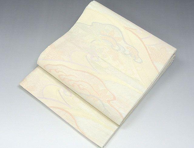 (夏物)(袋帯)新品仕立済 正絹 夏物[田中義織物謹製]立浪花模様 紗袋帯(新品)(仕立て上がり)
