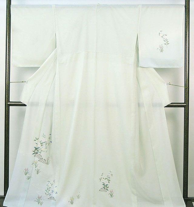 夏物 訪問着 新品仕立済 正絹 夏物 女郎花菖蒲流水模様 絽訪問着 新品 仕立て上がり 着物