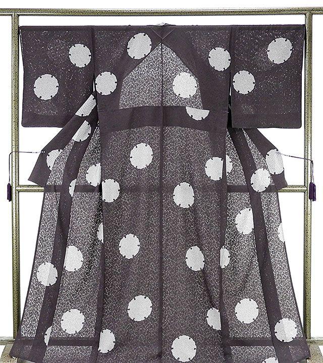 夏物 小紋 新品仕立済 正絹 夏物 雪輪匹田模様 紋紗小紋 新品 仕立て上がり 着物