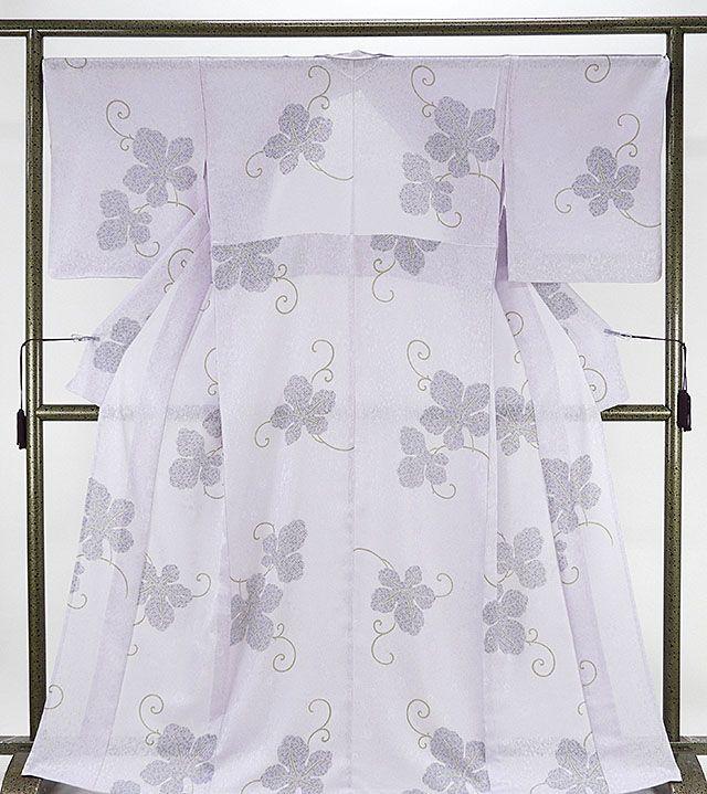 夏物 小紋 新品仕立済 正絹 夏物 梶の葉模様 紋紗小紋 新品 仕立て上がり 着物