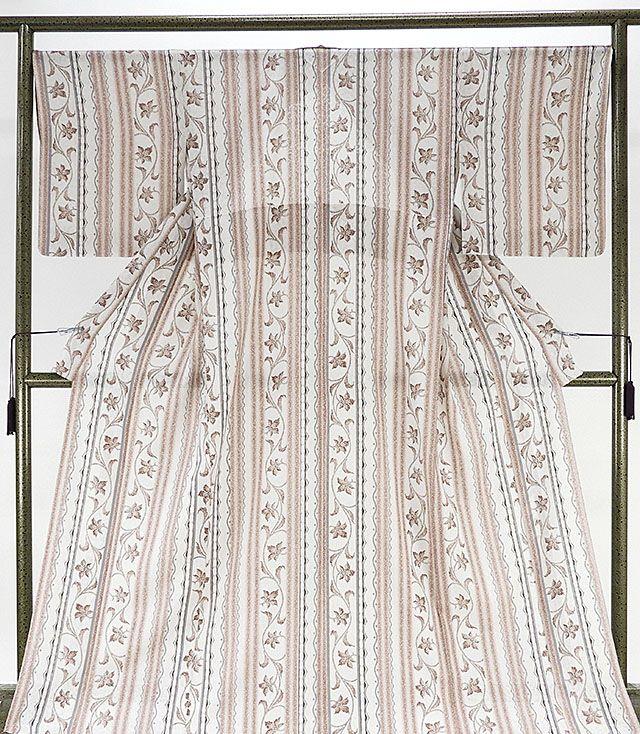 夏物 小紋 新品仕立済 正絹 夏物 唐花模様 紋紗小紋 新品 仕立て上がり 着物