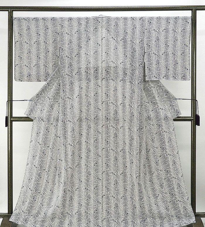 夏物 小紋 新品仕立済 正絹 夏物 縦縞蝶々模様 絽小紋 新品 仕立て上がり 着物