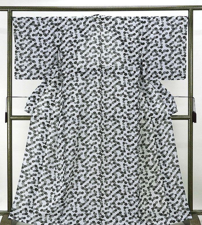 夏物 小紋 新品仕立済 正絹 夏物 水玉模様 絽小紋 新品 仕立て上がり 着物