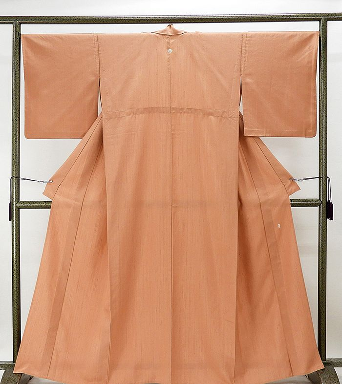 単衣 紬 正絹 単衣 加賀友禅 由水十久 色無地 紬 美品 リサイクル 着物