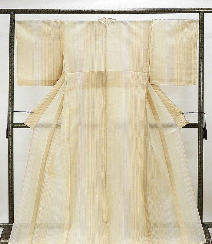 夏物 紬 新品仕立済 正絹 涼風 縦縞模様 紬 新品 仕立て上がり 着物
