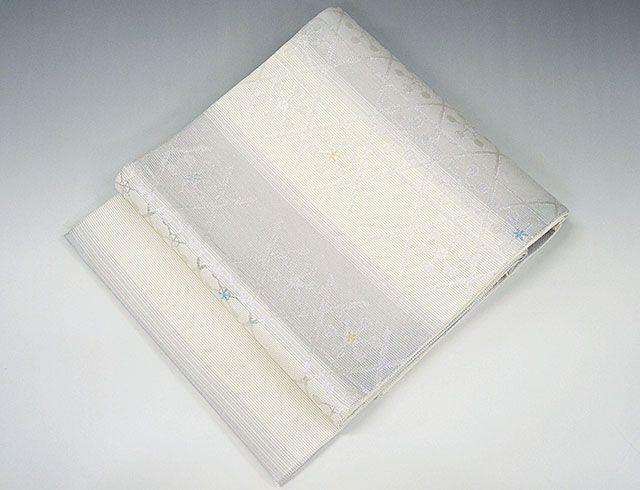 夏物 袋帯 新品仕立済 正絹 夏物 京都イシハラ謹製 草花丸模様 袋帯 新品 仕立て上がり