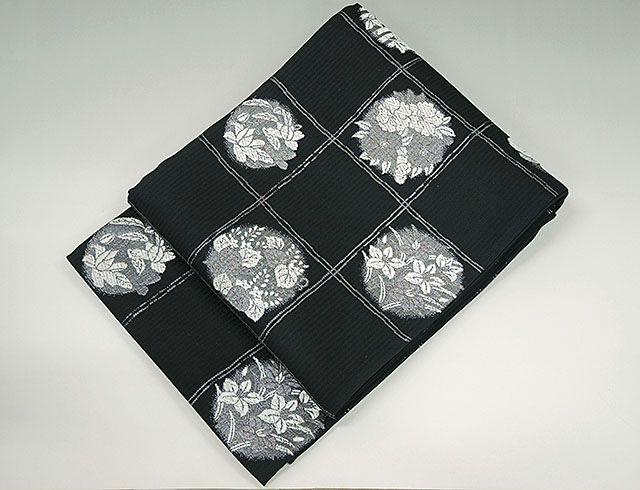 夏物 袋帯 新品仕立済 正絹 夏物 丸勇謹製 夏花模様 袋帯 新品 仕立て上がり