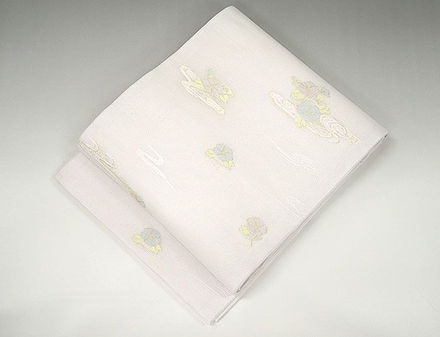 夏物 袋帯 新品仕立済 正絹 夏物 京都イシハラ謹製 雲取朝顔模様 袋帯 新品 仕立て上がり