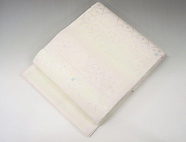夏物 袋帯 新品仕立済 正絹 夏物 京都イシハラ謹製 亀甲花模様 袋帯 小難あり 新品 仕立て上がり