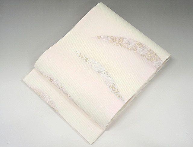 夏物 袋帯 新品仕立済 正絹 夏物 京都イシハラ謹製 露芝唐花模様 袋帯 新品 仕立て上がり