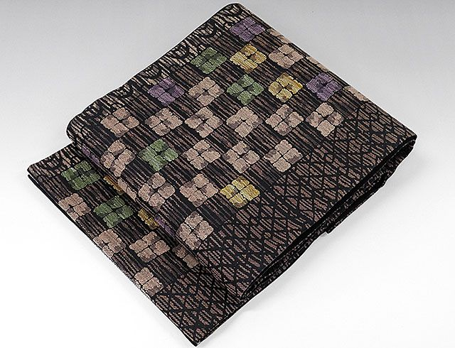 夏物 袋帯 新品仕立済 正絹 夏物 沢本織物謹製 格子幾何模様 袋帯 新品 仕立て上がり
