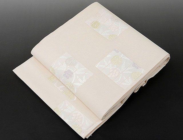 夏物 袋帯 新品仕立済 正絹 夏物 京都イシハラ謹製 格子草花模様 紗袋帯 新品 仕立て上がり
