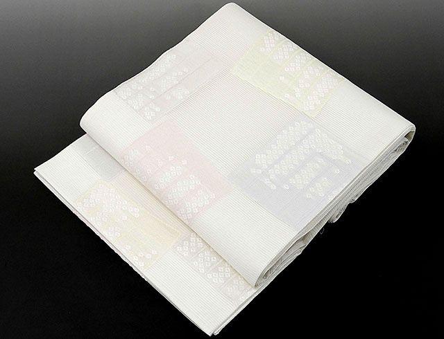 (夏物)(袋帯)新品仕立済 正絹 夏物[佐々木染織謹製]格子匹田模様 袋帯(新品)(仕立て上がり)