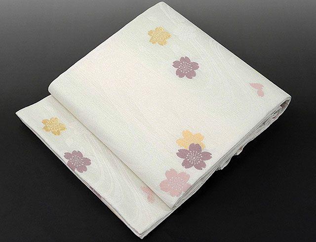 夏物 袋帯 新品仕立済 正絹 夏物 華翔苑謹製 流水桜模様 袋帯 新品 仕立て上がり