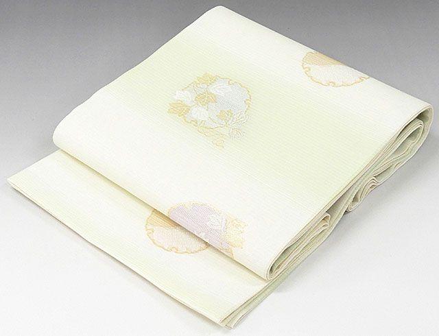 夏物 袋帯 新品仕立済 正絹 夏物 西陣 京都イシハラ謹製 雪輪草葉模様 袋帯 新品 仕立て上がり