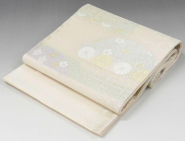 夏物 袋帯 新品仕立済 正絹 夏物 西陣 大光謹製 立浪菊花七宝模様 紗袋帯 新品 仕立て上がり