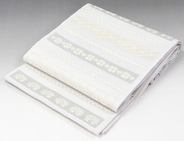 夏物 袋帯 新品仕立済 正絹 夏物 西陣 橋本テル織物謹製 横段花幾何模様 袋帯 新品 仕立て上がり