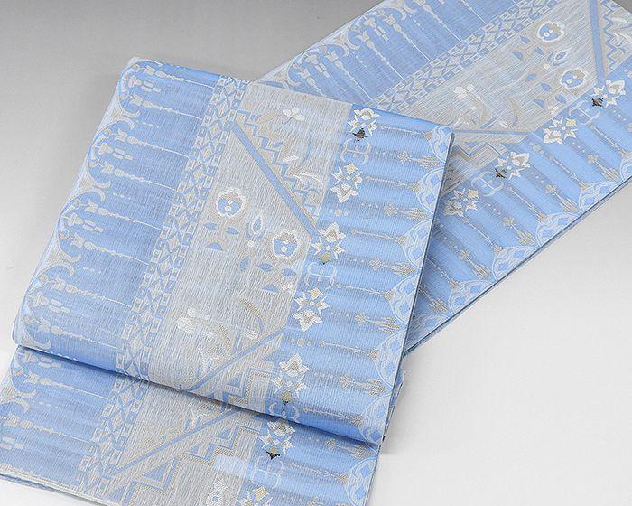 夏物 袋帯 新品仕立済 正絹 夏物 西陣 大光謹製 唐花幾何模様 紗袋帯 新品 仕立て上がり