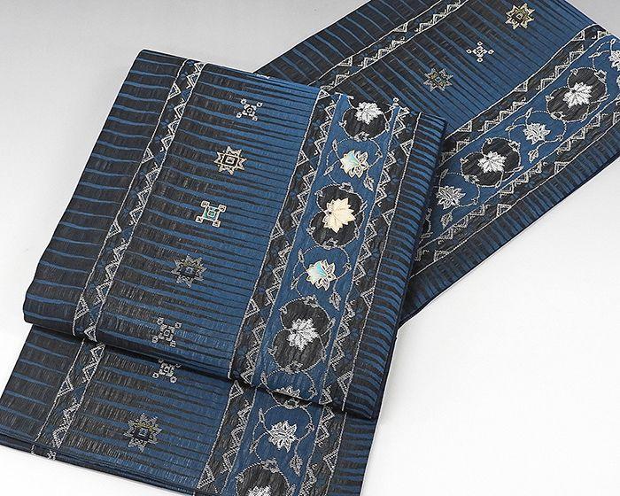 夏物 袋帯 新品仕立済 正絹 夏物 螺鈿作家 藤本隆士作 唐花幾何模様 紗袋帯 新品 仕立て上がり