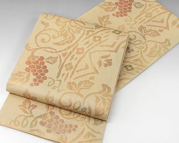 夏物 袋帯 美しいキモノ 新品仕立済 正絹 夏物 西陣 白寿苑謹製 葡萄模様 紗袋帯 新品 仕立て上がり