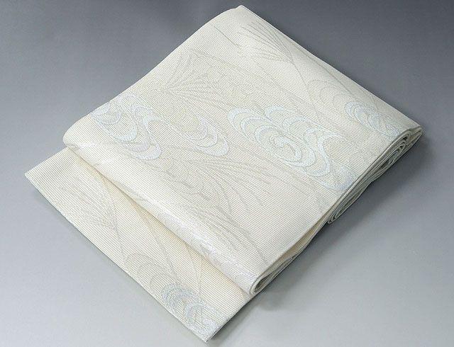 (夏物)(袋帯)新品仕立済 正絹 夏物[京都イシハラ謹製]流水草葉模様 紗袋帯(新品)(仕立て上がり)