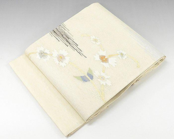 夏物 袋帯 新品仕立済 正絹 霞花模様 すくい織 袋帯 新品 仕立て上がり