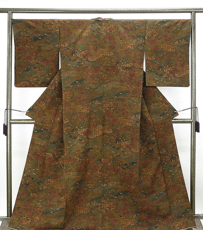 小紋 正絹 四季花鳥模様 小紋 美品 リサイクル 着物