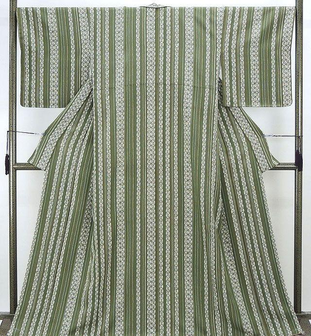 小紋 新品仕立済 正絹 縦縞幾何模様 小紋 新品 仕立て上がり 着物