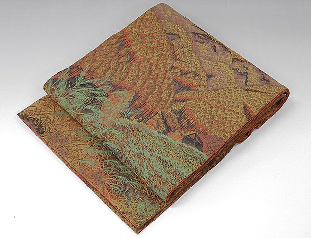 袋帯 正絹 木立風景模様 袋帯 良品 リサイクル