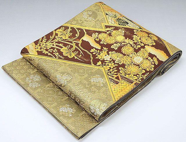 袋帯 正絹 裂取天井螺鈿華文様 袋帯 良品 リサイクル 送料無料