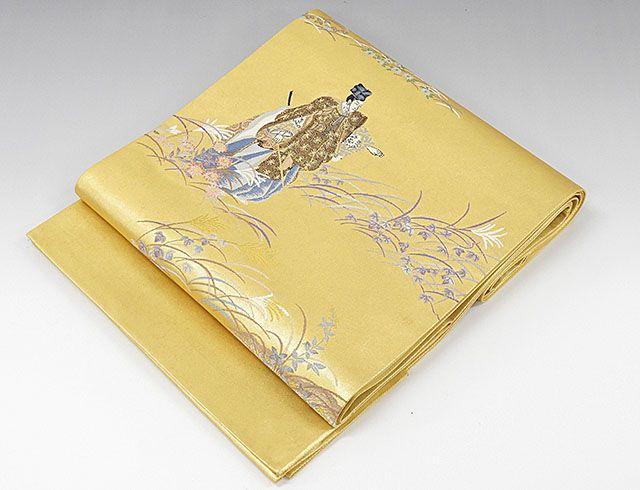袋帯 正絹 本金箔時代草花模様 袋帯 良品 リサイクル
