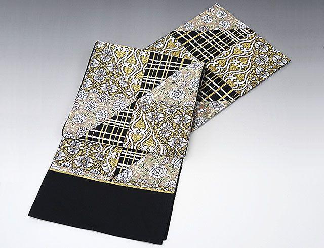 袋帯 新品仕立付き 正絹 西陣 橋本テル織物謹製 格子立沸花文様 袋帯 未仕立 仕立て代込み