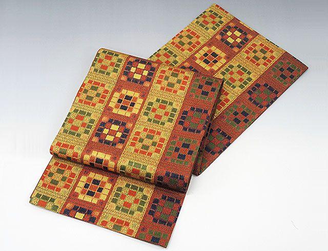 袋帯 新品仕立済 正絹 西陣 小池織物謹製 格子絣文様 袋帯 新品 仕立て上がり