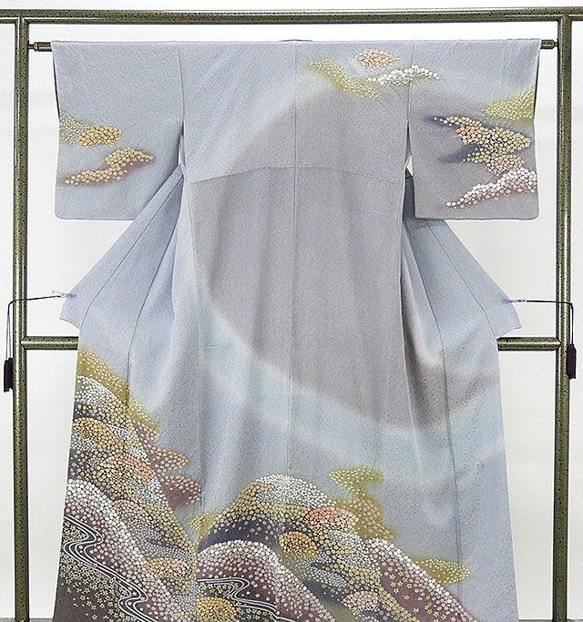 訪問着 正絹 風景模様 訪問着 良品 リサイクル 着物