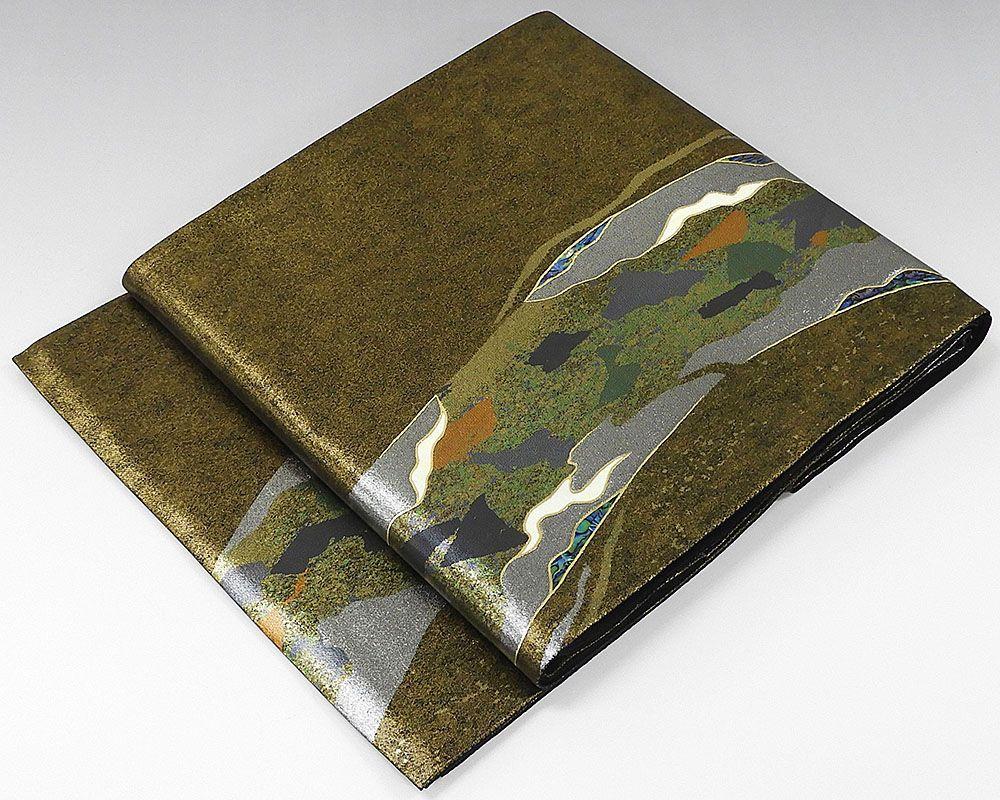 袋帯 正絹 螺鈿作家 藤本隆士作 袋帯 リサイクル
