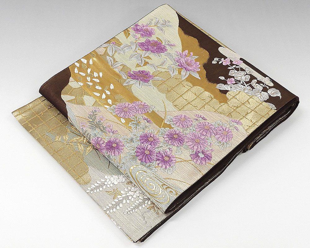 袋帯 正絹 西陣 じゅらく謹製 帝王紫 袋帯 良品 リサイクル