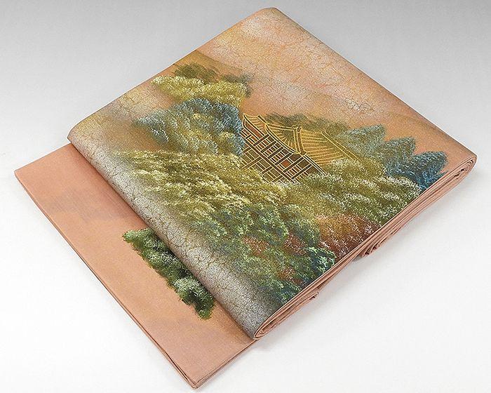 袋帯 正絹 風景模様 袋帯 良品 リサイクル