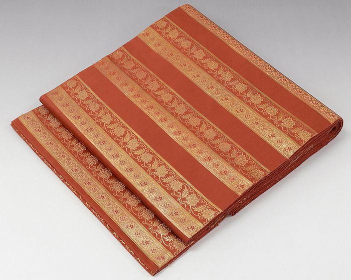 袋帯 正絹 伝統工芸士 箔屋清兵衛 名物裂間道 横段唐花文様 袋帯 リサイクル