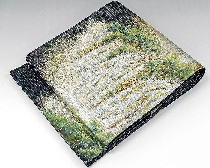 袋帯 未着用美品 正絹 いづくら織物謹製 イグアスの滝模様 袋帯 未使用 新古品