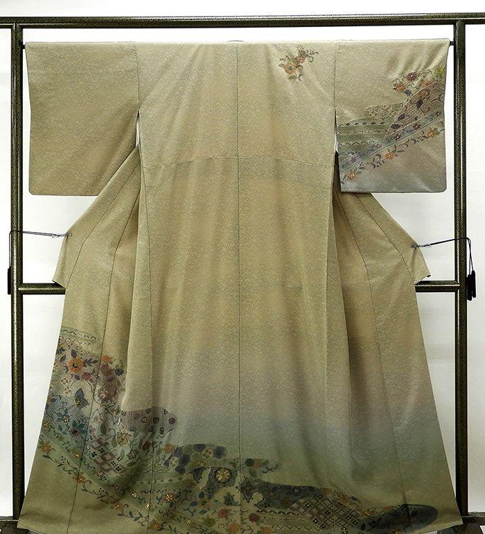 訪問着 正絹 唐花模様 訪問着 リサイクル 着物