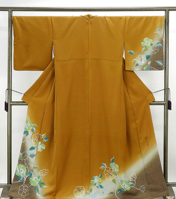 (訪問着)新品仕立済 正絹 花模様 訪問着 身丈164.5cm 裄丈68cm(新品)(仕立て上がり)(着物)