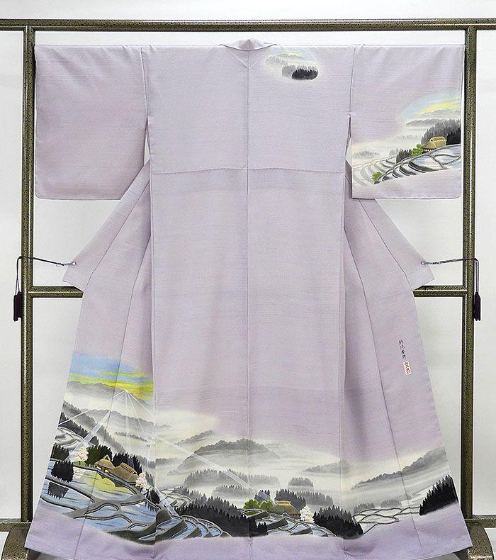 訪問着 新品仕立済 正絹 家屋風景模様 訪問着 身丈164.5cm 裄丈68cm 新品 仕立て上がり 着物