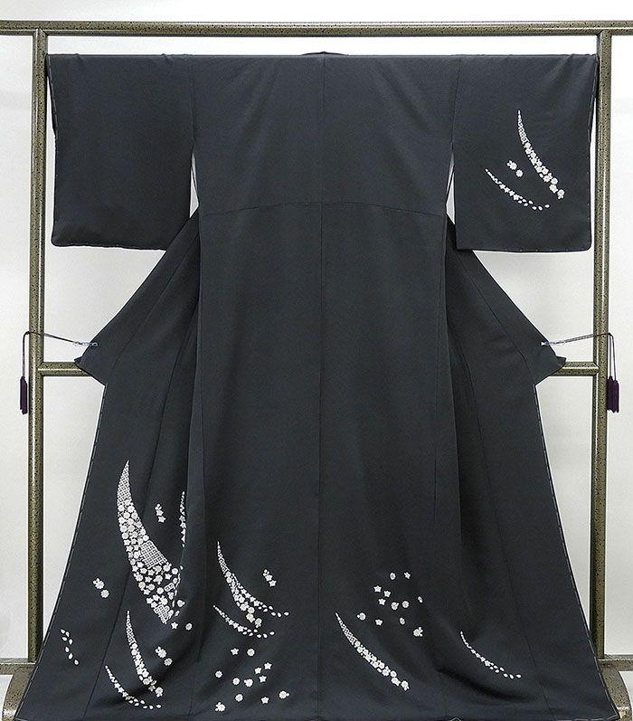 (訪問着)新品仕立済 正絹 四季花七宝模様 訪問着 身丈167.5cm 裄丈67.5cm(新品)(仕立て上がり)(着物)