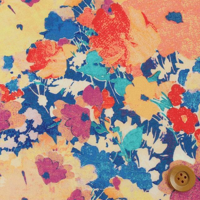 自由印刷架子貸款布料(Deborah德博拉)黄色&藍色自由
