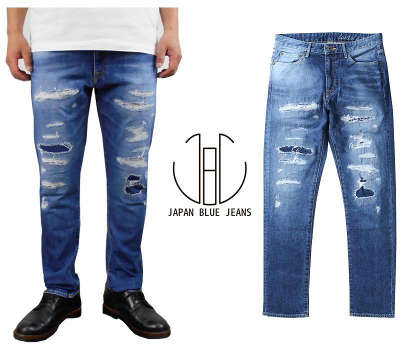 送料無料 ジャパンブルージーンズ JAPAN BLUE JEANS 人気 復刻 加工 ジーンズ スリム テーパード「カリフ サンタモニカ 12oz ストレッチ ダメージ リペア デニム パンツ」メンズ 日本製 J8717SM