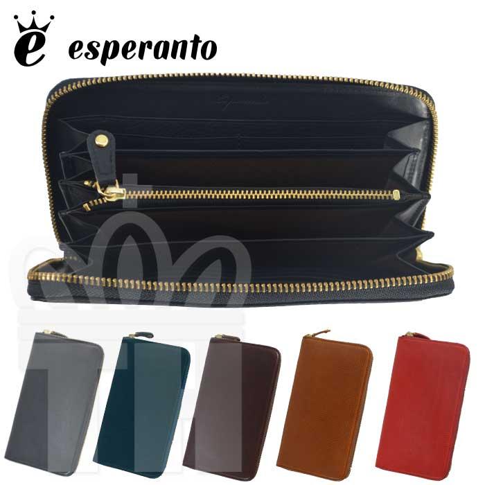 エスペラント esperanto イタリアンレザー 日本製 長財布「ミネルバボックス レザー ラウンドジッパー ロングウォレット」メンズ レディース ESP-6475